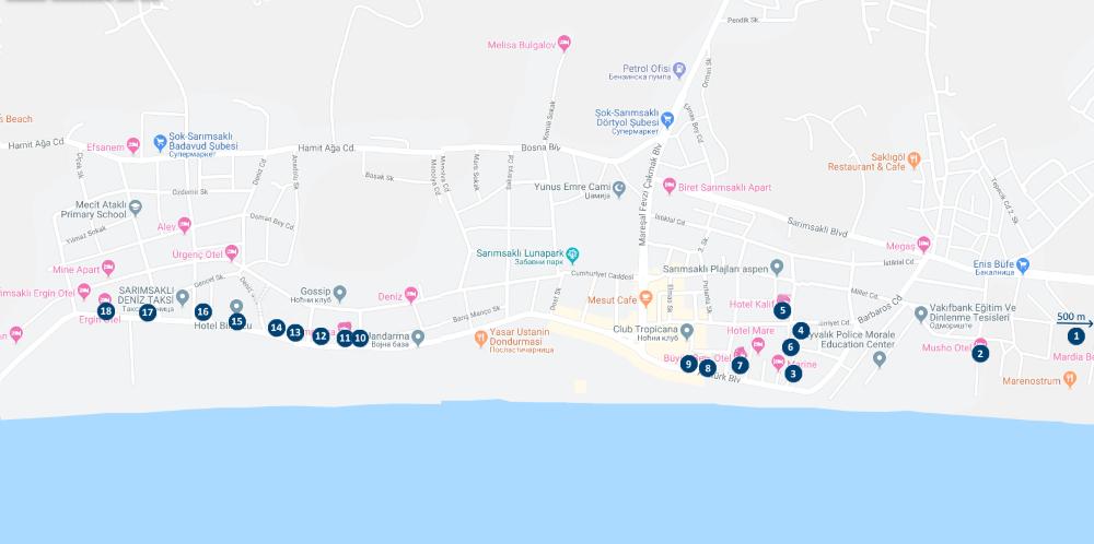 mapa sarimsakli hoteli